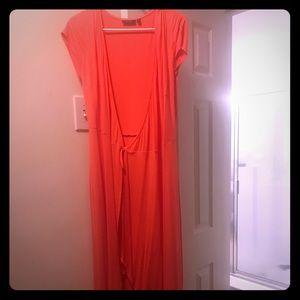 Peach high low dress